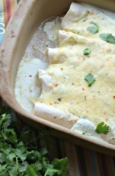 Creamy Verde Chicken Enchiladas Recipe {Deals to Meals}