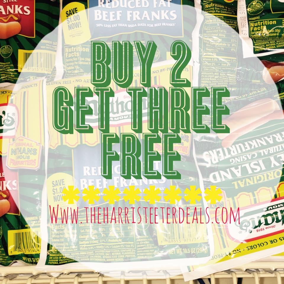 Nathan's Beef Franks Buy 2 get 3 FREE {6/30-7/5} - The Harris Teeter Deals