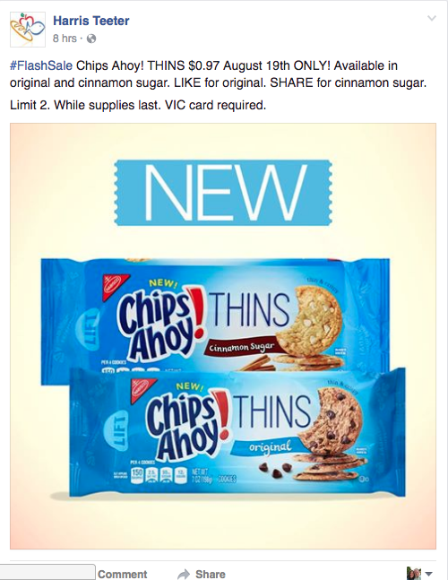 Chips Ahoy Thin Cookies 22 C2 A2 After Coupon The Harris Teeter Deals