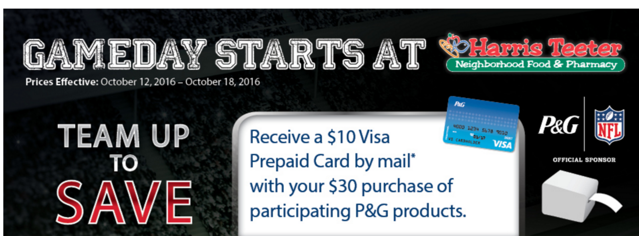 ... through 10/18 get a $10 gift card on participating P&G products
