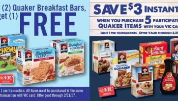 Quaker Promotion at Harris Teeter {Buy 5, get $3 Off + Granola Bar Deal}