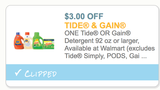Discount coupons for tide detergent
