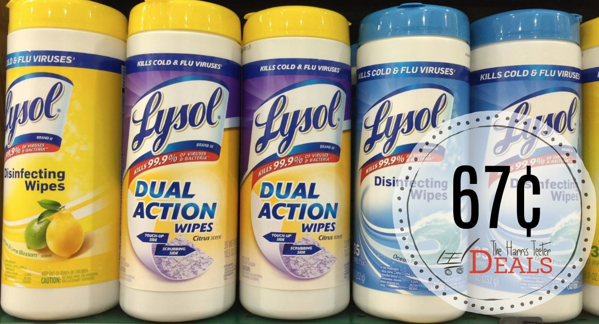 Lysol Wipes 67¢ at Harris Teeter!