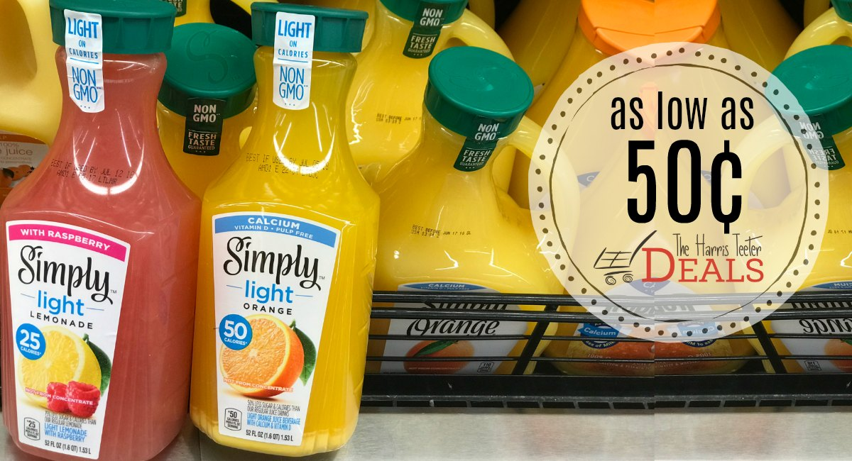 Simply Light Juices as low as 50¢ at Harris Teeter!