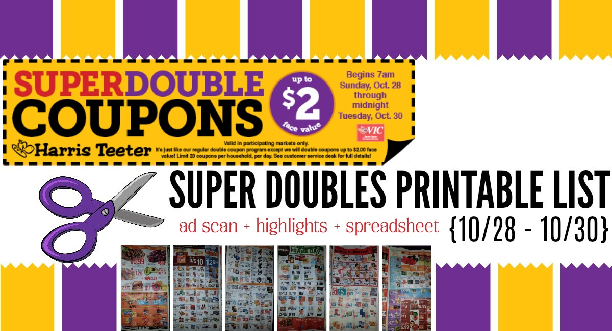picture about Printable Biore Coupons named Harris Teeter Tremendous Double Oct Advertisement Scan + Printable Listing