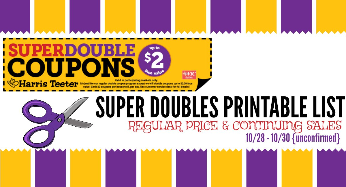 Harris Teeter Super Double October Printable List & Highlights {10/28 – 10/30 Unconfirmed}