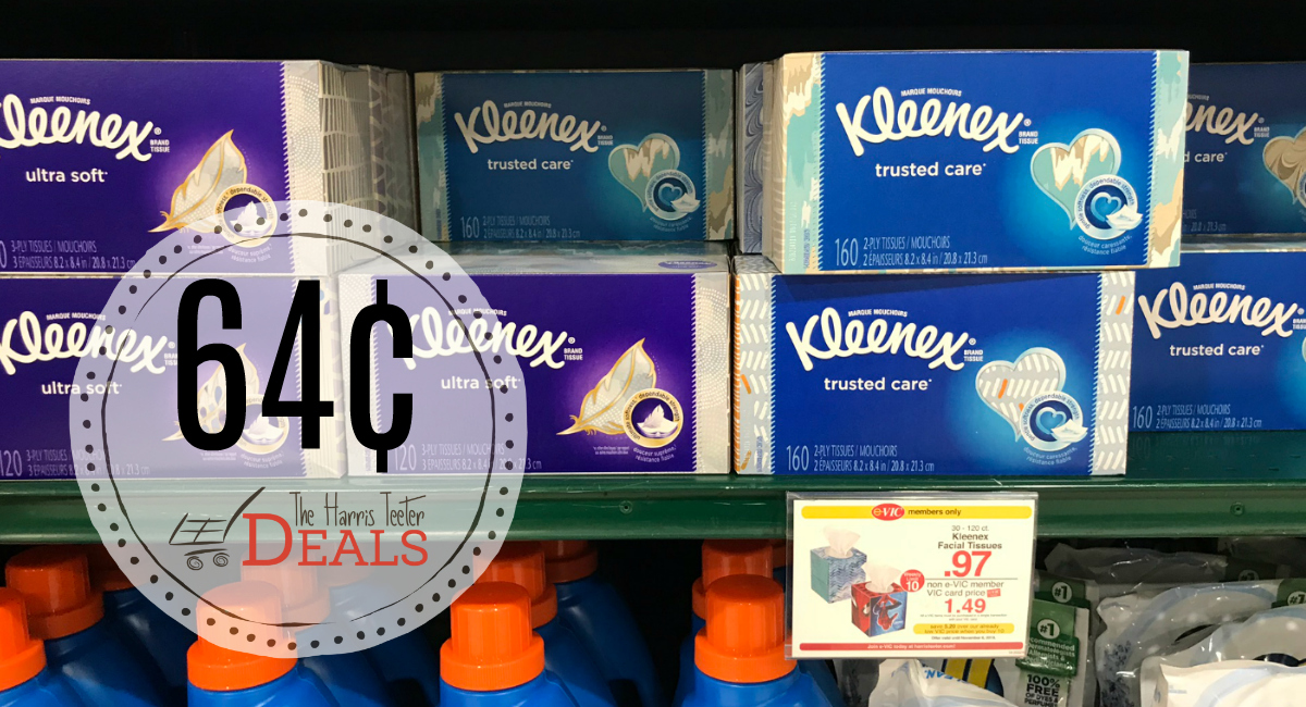 graphic about Kleenex Printable Coupon named Kleenex 64¢ at Harris Teeter! Clean Coupon - The Harris