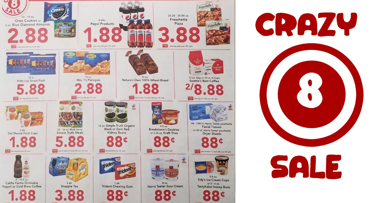 image relating to Crazy8 Printable Coupons known as Mad 8 Profits at Harris Teeter 1/2 - 1/8 No cost Breakstones