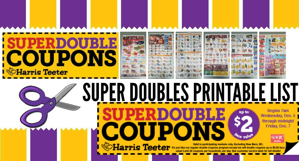 Harris Teeter Super Doubles CONFIRMED 12/5 – 12/7 {Printable List + Ad Scan}
