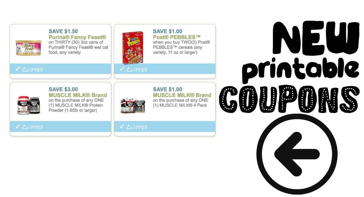 image about Fancy Feast Printable Coupons named Fresh Printable Coupon codes Muscle mass Milk, Pebbles Cereal and even more