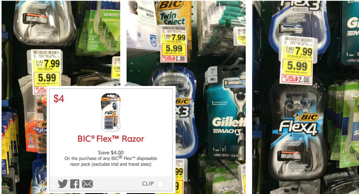 picture relating to Bic Razor Coupons Printable identified as Uncommon $4 Off Bic Flex Razor Coupon codes! - The Harris Teeter Discounts